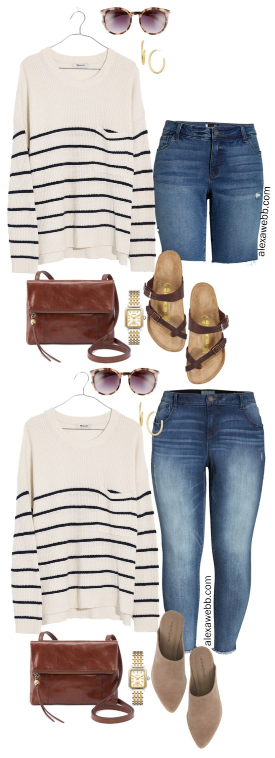 Plus Size Madewell Striped Sweater Outfit Ideas - Transition Summer into Fall - alexawebb.com #plussize #alexawebb