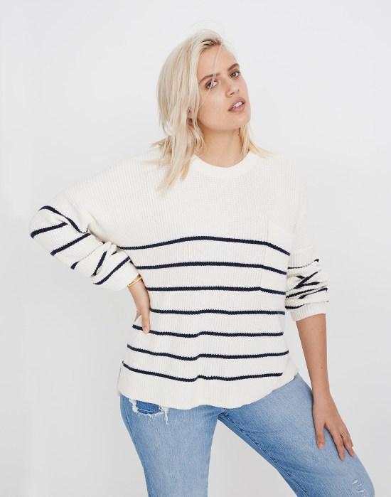 Plus Size Madewell Striped Sweater - alexawebb.com #plussize #alexawebb