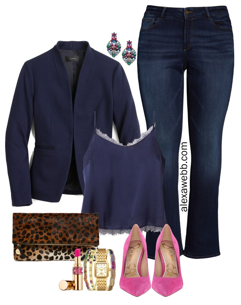 Plus Size Date Outfit - Fall Casual - Plus Size JCrew Blazer, Cami, Bootcut Jeans, Heels - alexawebb.com #plussize #alexawebb