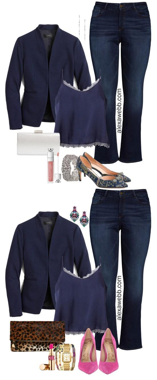 Plus Size Navy Blazer Date Night Outfit Ideas - Fall Casual - Plus Size JCrew Blazer, Cami, Bootcut Jeans, Heels - alexawebb.com #plussize #alexawebb