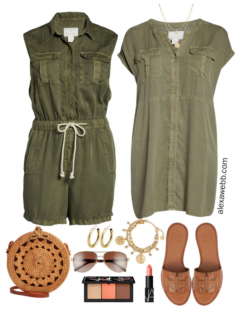 Plus Size Olive Green Utility Romper and Dress - Summer Outfit Idea - alexawebb.com #plussize #alexawebb