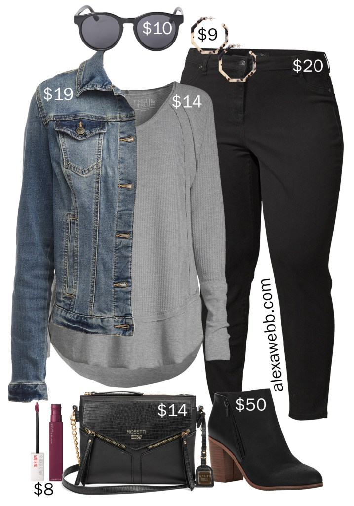 Plus Size on a Budget – Black Jeans, Denim Jacket, T-Shirt, Ankle Booties - Fall Outfit Idea - alexawebb.com #plussize #alexawebb