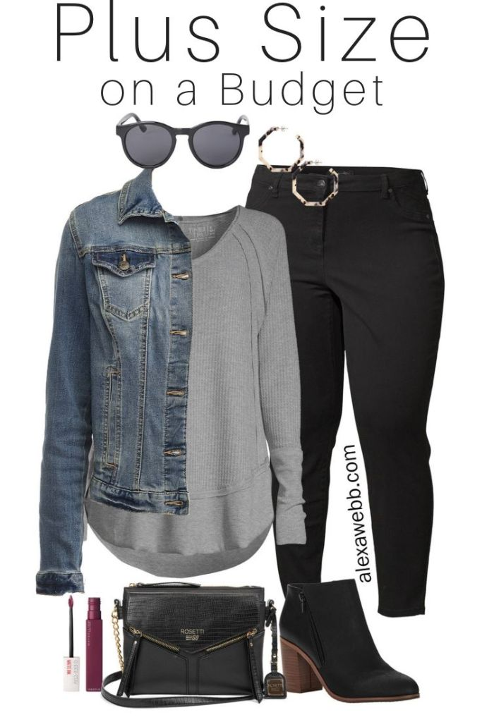 Plus Size on a Budget – Black Jeans, Denim Jacket, T-Shirt, Ankle Booties - Fall Outfit Idea - alexawebb.com #plussize #alexawebb