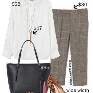 Plus Size on a Budget - Work Outfit- Checked Trousers, Blouse, Leopard Pumps, Tote Bag - alexawebb.com #plussize #alexawebb