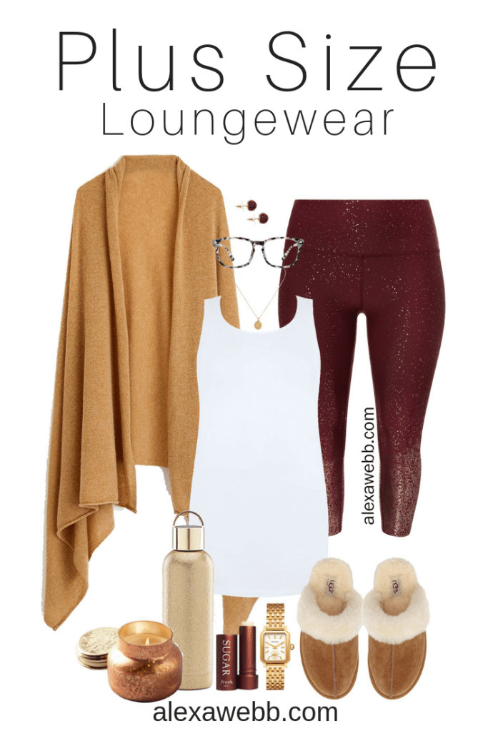Plus Size Fall Loungewear - Cashmere Wrap, Sparkle Leggings, Tank Top, Ugg Slippers - Plus Size Fashion for Women - alexawebb.com #plussize #alexawebb