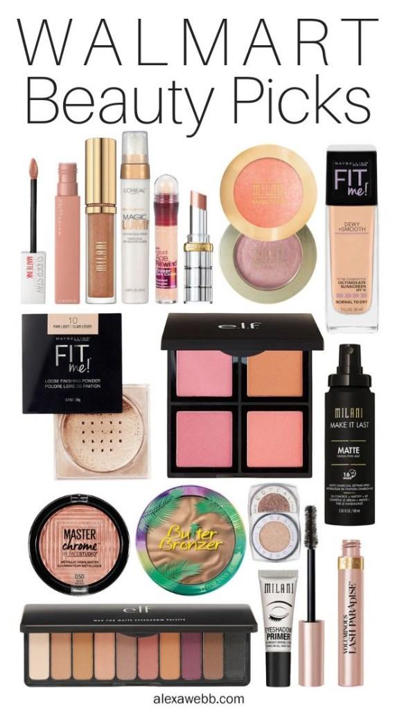 Walmart Beauty Picks - My favorite mascara, lipsticks, blush, bronzer, highlighter, setting spray, eye shadow, powder - alexawebb.com #alexawebb