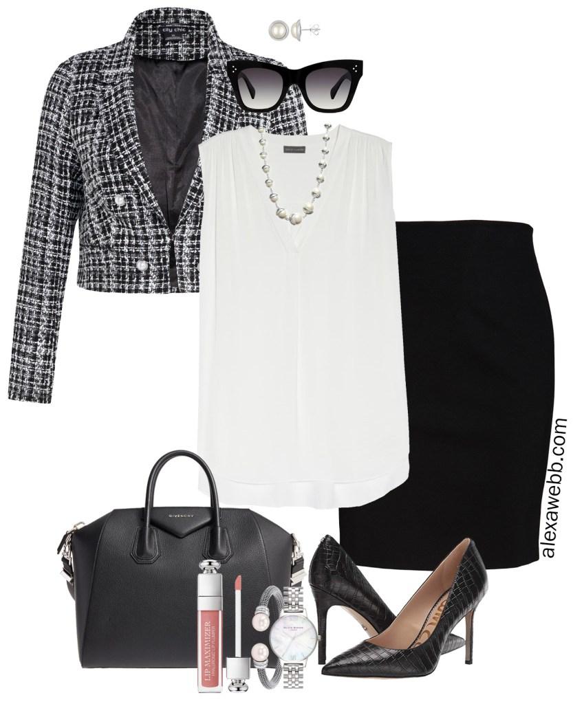 Plus Size Bouclé Jacket Outfits - Work Outfit Idea - Blazer and Pencil Skirt - alexawebb.com #plussize #alexawebb