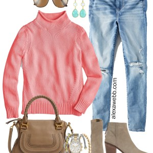 Plus Size Coral Sweater & Jeans Outfit - Plus Size Fall Look - Alexa Webb - alexawebb.com #plussize #alexawebb