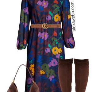 Plus Size Work Dress for Fall with Wide Calf Boots - Plus Size Workwear - alexawebb.com #plussize #alexawebb