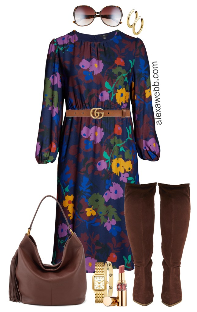 Plus Size Work Dress for Fall with Wide Calf Boots - Plus Size Workwear - alexawebb.com #plussize #alexawebb