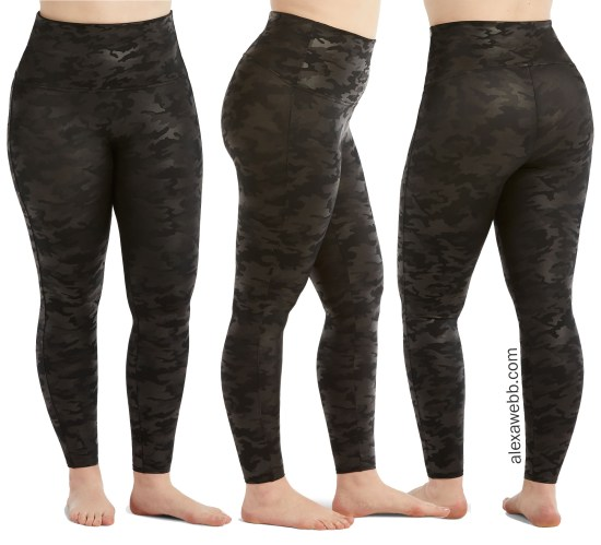 Plus Size Spanx Faux Leather Black Camo Leggings - alexawebb.com #plussize #alexawebb