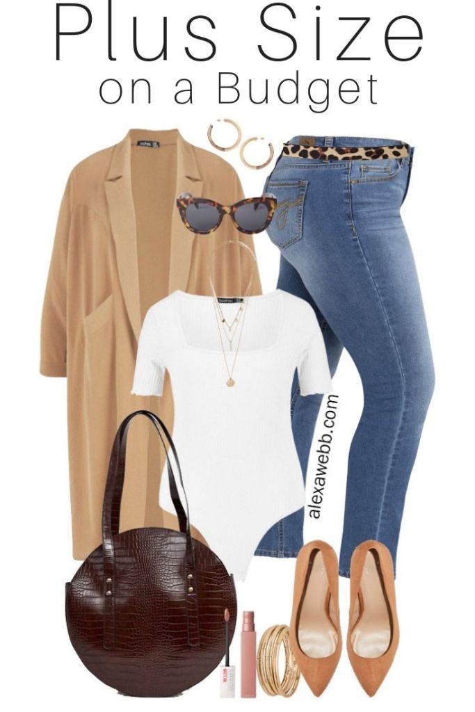 Plus Size on a Budget - Fall Neutrals - Plus Size Duster, Bodysuit, Skinny Jeans, Leopard Belt, Pumps - alexawebb.com #plussize #alexawebb #plussizebudget