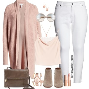Plus Size Blush Pink and Rose Gold Outfit Ideas with White Denim and Booties - Fall Fashion - alexawebb.com #plussize #alexawebb