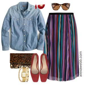 Plus Size Striped Skirt Outfit - Chiffon Midi Skirt, Chambray Shirt, Leopard Clutch, Red Heels - Plus Size Fashion for Women - alexawebb.com #plussize #alexawebb