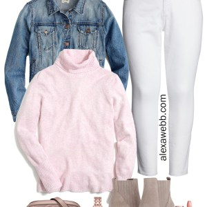 Plus Size White Jeans Outfit for Fall with Pale Pink Turtleneck Sweater, Denim Jacket, Ankle Booties, and Gucci Bag - alexawebb.com #plussize #alexawebb