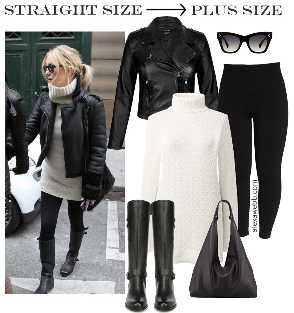 Straight Size to Plus Size - Kate Hudson's Outfit - Winter Outfit Idea - Biker Jacket, Tunic Sweater, Leggings, Wide Calf Boots - alexawebb.com #plussize #alexawebb