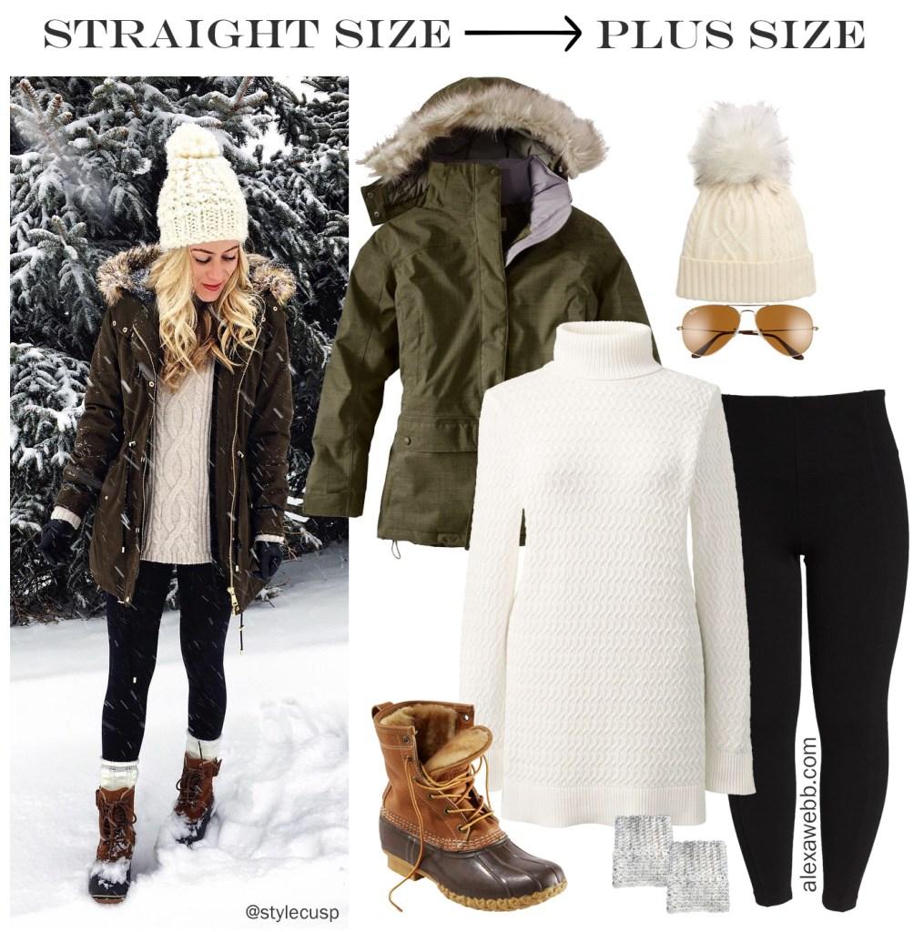 Straight Size to Plus Size - Winter Alpine Outfit - Leggings, tunic sweater, coat -alexawebb.com #plussize #alexawebb