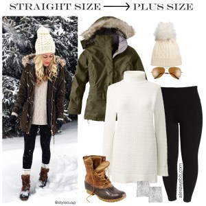 Straight Size to Plus Size - Winter Alpine Outfit - Leggings, tunic sweater, coat -alexawebb.com #plussize #alexawebb