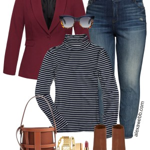 Plus Size Burgundy Blazer Casual Outfit for Fall and Winter with Jeans and a Stripe Turtleneck - Alexa Webb #alexawebb #plussize
