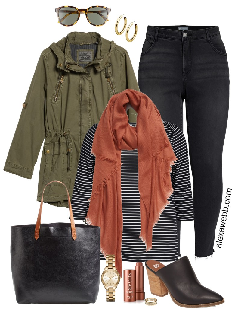 Plus Size Fall Anorak Outfit - Plus Size Fashion for Women - black jeans, rust scarf, striped t-shirt, mules, Madewell Tote Bag #plussize #alexawebb