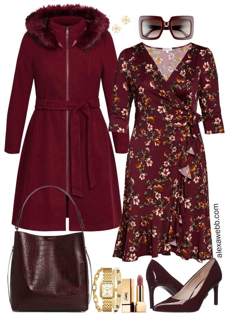 Plus Size Floral Wrap Dress for Fall - Plus Size Workwear - alexawebb.com #plussize #alexawebb