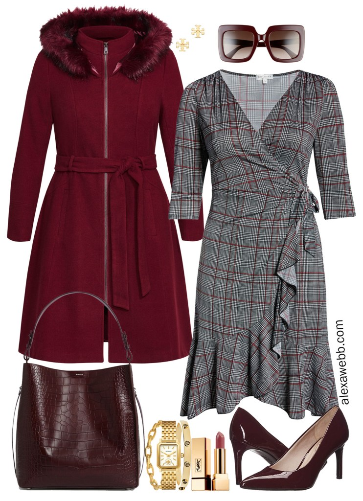 Plus Size Fall Wrap Dresses - Plus Size Workwear - alexawebb.com #plussize #alexawebb