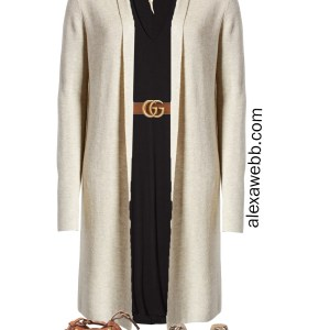 Plus Size Fall Jersey Dress with Gucci Belt, Long Cardigan, Snake Ankle Booties, Wool Fedora Hat - Plus Size Fall Outfit Idea - Alexa Webb #plussize #alexawebb
