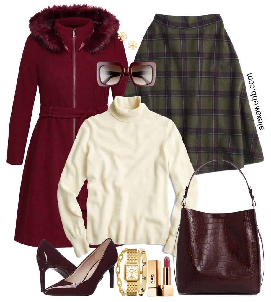 Plus Size Plaid Skirt Outfit - Fall and Winter Work Outfit Idea #plussize #alexawebb