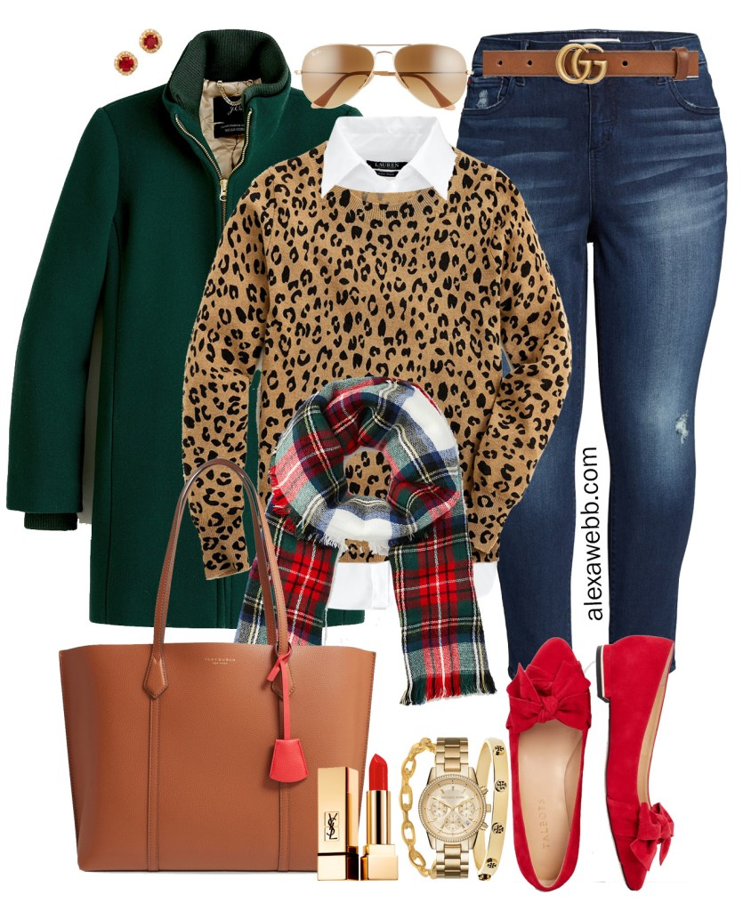 Plus Size Holiday-Inspired Outfits - Leopard Sweater, white button-down, plaid scarf, green coat, and red flats - Alexa Webb