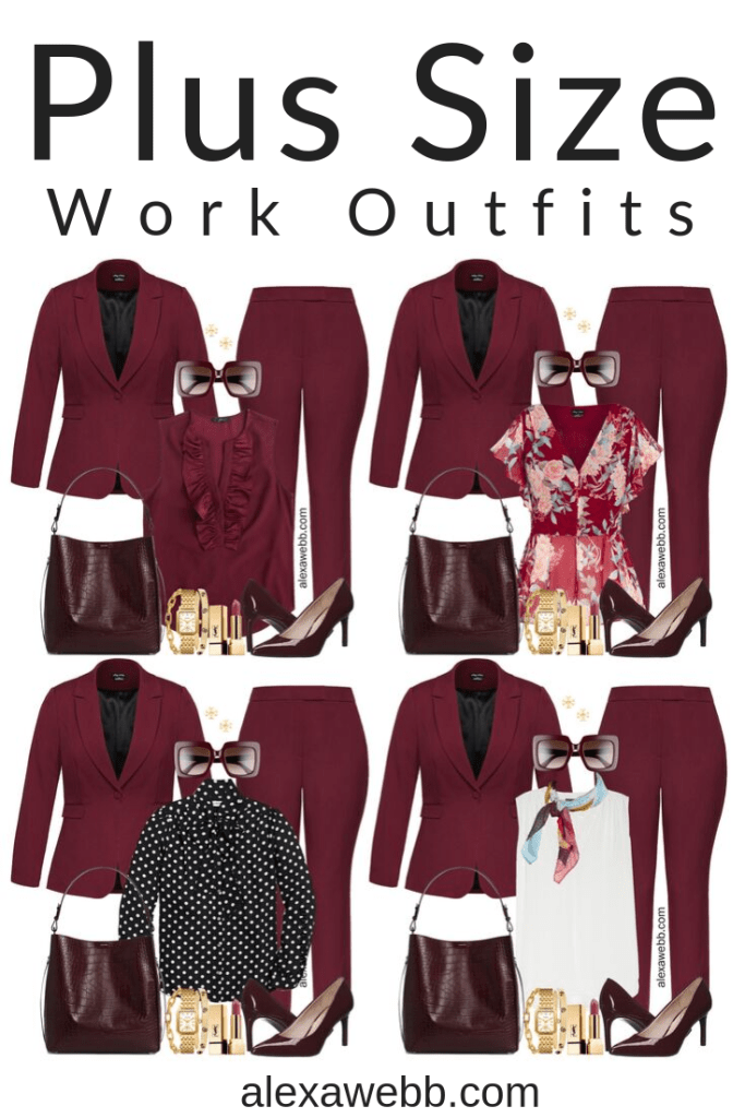 Plus Size Fall Pant Suit Outfits for Work - Burgundy Suit Styled 5 ways #plussize #alexawebb