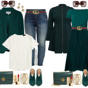 Plus Size Green Dress with Pleats and Gucci Belt Styled with Green Booties - Plus Size Fall Fashion for Women - Alexa Webb #plussize #alexawebb