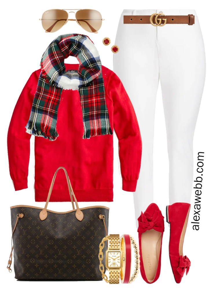 Plus Size Holiday Outfits with White Skinny Jeans, Red Sweater, Plaid Scarf, Red Flats - Alexa Webb #plussize #alexawebb