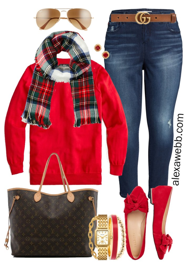 Plus Size Holiday Outfits with Skinny Jeans, Red Sweater, Plaid Scarf, Red Flats - Alexa Webb #plussize #alexawebb