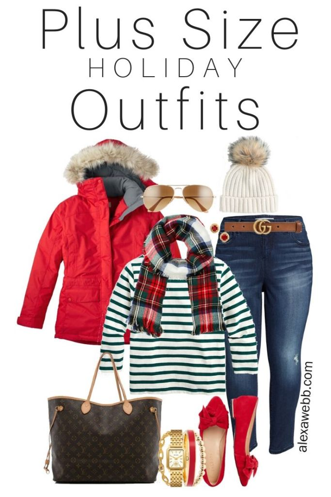 Plus Size Holiday Outfits with Skinny Jeans, Green Striped Top, Plaid Scarf, Red Flats - Alexa Webb #plussize #alexawebb