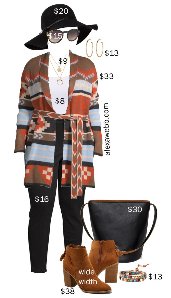 Plus Size on A Budget Aztec Cardigan - Fall Outfit Idea - Alexa Webb #plussize #alexawebb