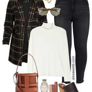 Plus Size Plaid Blazer Outfit - Plus Size Fall Fashion - #plussize #alexawebb