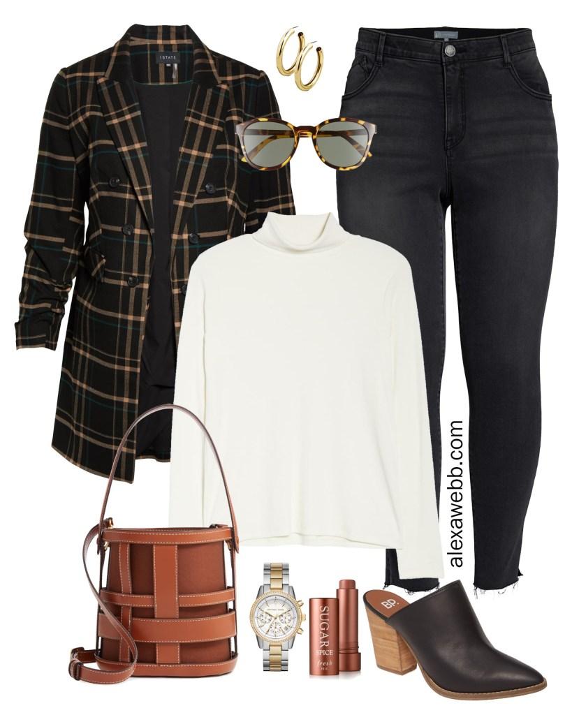 Plus Size Plaid Blazer Outfit - Plus Size Fall Fashion - #plussize #alexawebb
