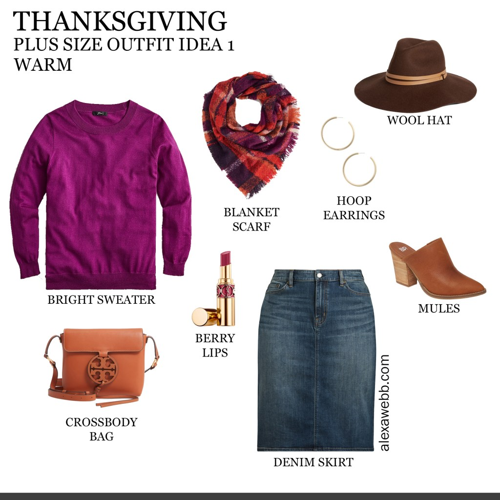 2019 Plus Size Thanksgiving Outfits - Part 1 with Wool Sweater, Plaid Blanket Scarf, Denim Skirt, Mules, Wool Hat - Alexa Webb #plussize #alexawebb