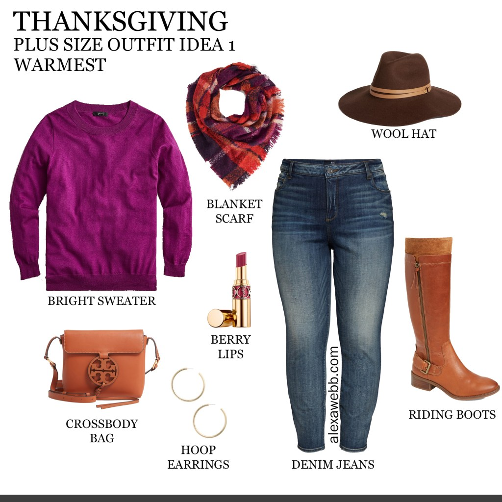 2019 Plus Size Thanksgiving Outfits - Part 1 with Cashmere Sweater, Plaid Blanket Scarf, Jeans, Wide Calf Boots, Wool Hat - Alexa Webb #plussize #alexawebb