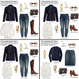 2019 Plus Size Thanksgiving Outfits - Part 2 with Blazer, Ruffle Blouse, Jeans or Denim Skirt, Wide Calf Boots or Booties - Alexa Webb #plussize #alexawebb
