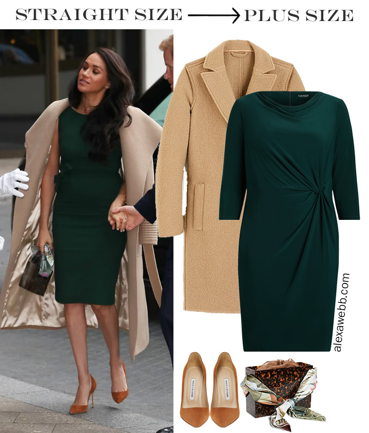 Straight Size to Plus Size - Meghan Markle in Green Dress with Camel Coat - Alexa Webb #plussize #alexawebb