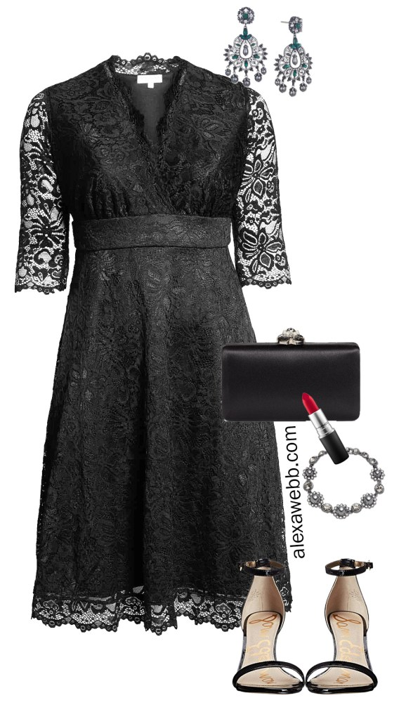 Plus Size Holiday Cocktail Party Dress with Accessories - Alexa Webb