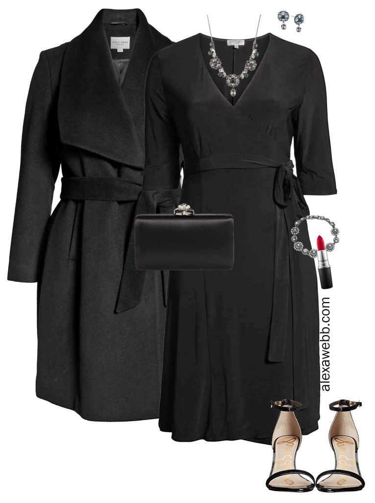 Plus Size Holiday Work Party Outfit Idea - Wrap Dress - Alexa Webb