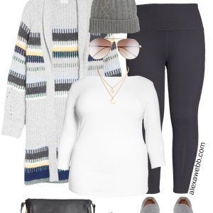 Plus Size Athleisure Leggings Outfit with Nordstrom featuring sneakers, cardigan, crossbody bag, and beanie hat with faux fur pom. Alexa Webb