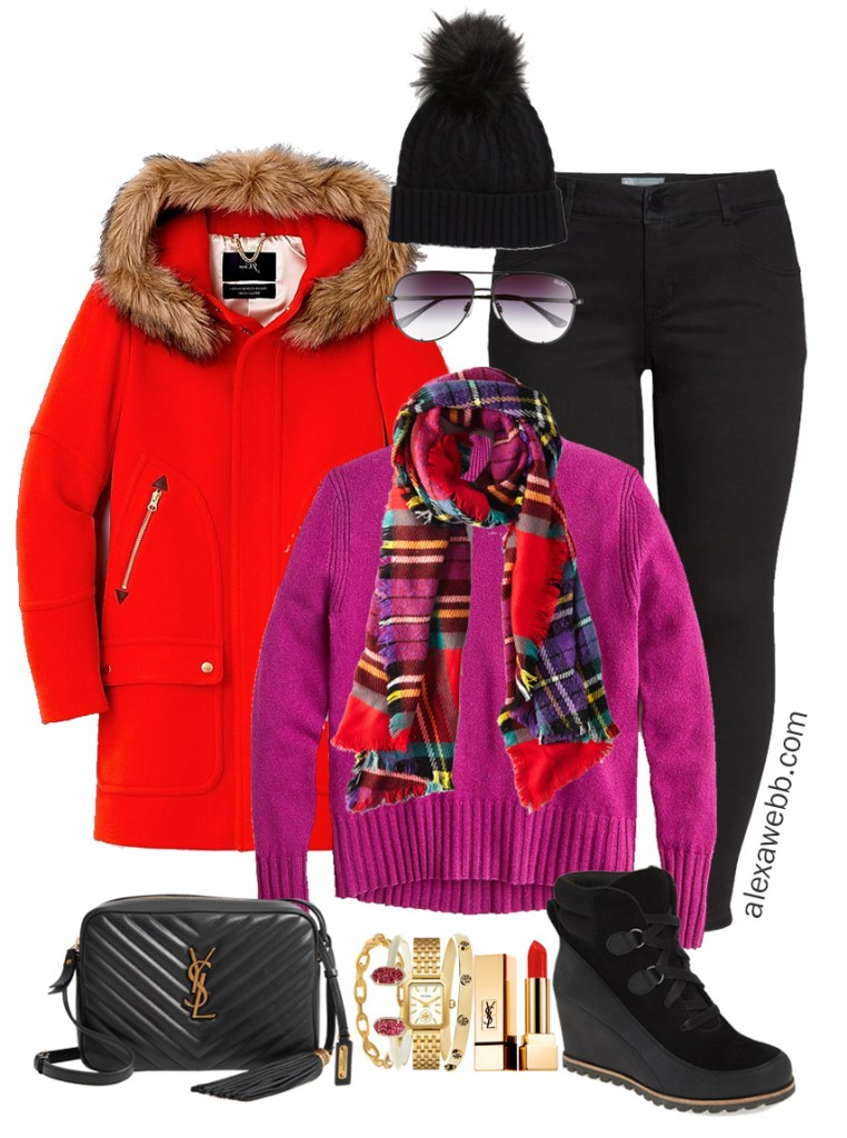 Plus Size Bright Plaid Outfit with Black Jeans, Plaid Scarf, Magenta Sweater, and Waterproof Wedge Booties - Alexa Webb