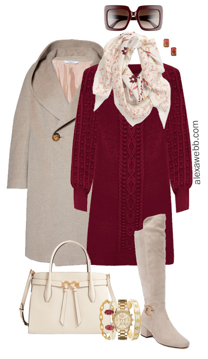 Plus Size Burgundy Sweater Dress - Plus Size Work Outfit - Alexa Webb #plussize #alexawebb