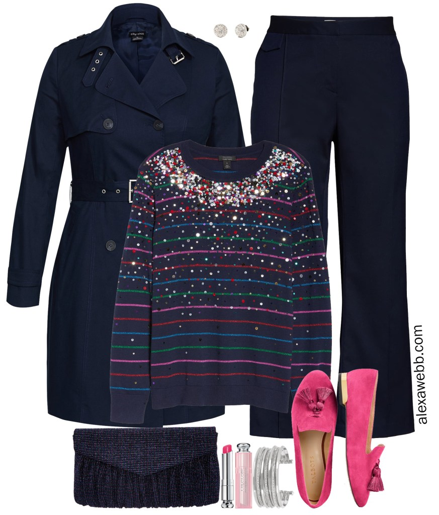 Plus Size Navy Holiday Outfit - Alexa Webb