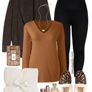 Plus Size Cozy Loungewear with Barefoot Dreams Cardigan, T-Shirt, Leggings, and Leopard Calf Hair Slippers - Alexa Webb #Plussize #alexawebb