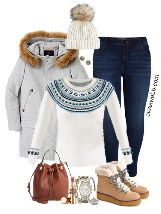 Plus Size Fair Isle Sweater Outfit with Jeans, Hiking Boots, and Hooded Coat - Alexa Webb