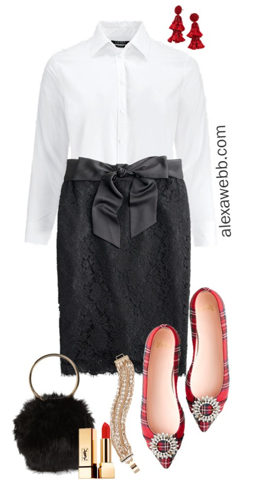 2019 Plus Size Holiday Outfit Ideas - Black Lace Skirt with button down shirt, tartan plaid flats and clutch - Alexa Webb #plussize #alexawebb